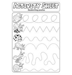 Activity sheet handwriting practise 6 vector