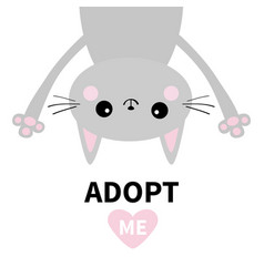 Adopt me dont buy gray cat hanging upsidedown vector