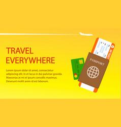 air ticket passport visa banner template vector image