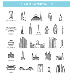 Asian landmarks and travel destinations vector