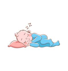 Baboy sleeping cute happy newborn in vector