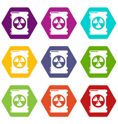 barrel danger icons set 9 vector image