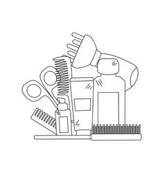 Beauty background with barber shop tools vector image