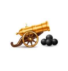 Big golden cannon vector