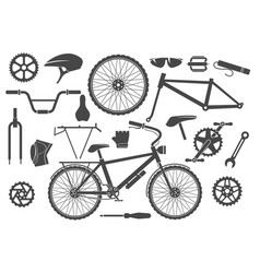 Bike parts isolated vector