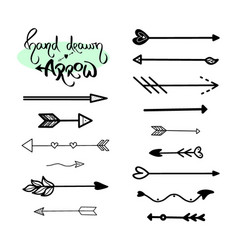 black arrows brush hand drawing white background vector image