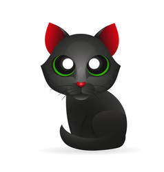 Black cat isolated on white background vector