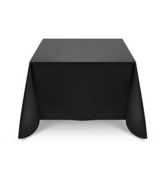Black tablecloth on white background for design vector