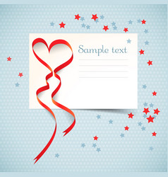 Blank postcard with ribbon vector