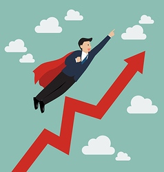 Businessman super hero with growing graph vector