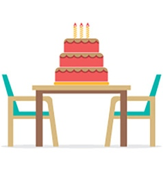 Cake On A Table With Chairs On White Background vector image vector image