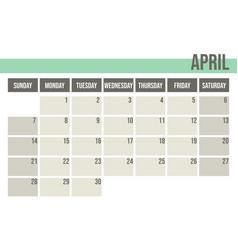 calendar planner 2019 monthly planner april vector image