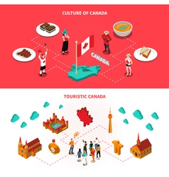 Canada Touristic Attractions Horizontal Isometric vector