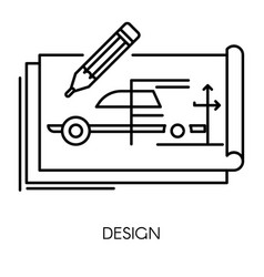 car technical design mechanical engineering vector image