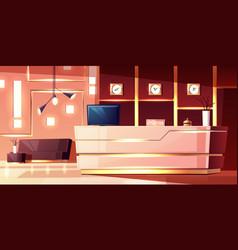 Cartoon hotel reception lobinn vector