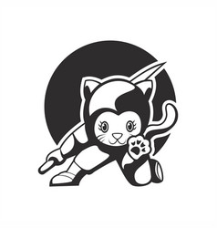 Cat ninja mascot vector