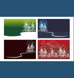 Cedar tree background template set vector