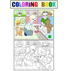 children coloring cartoon contact zoo pet vector image