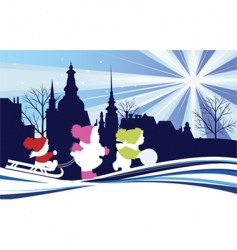 children in the Christmas city vector image