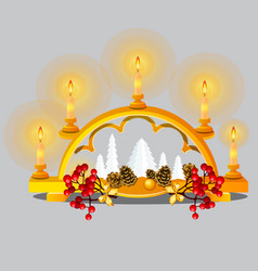 Christmas sketch with burning candles in golden vector