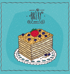 Classic cake napoleon with berries on lacy napkin vector