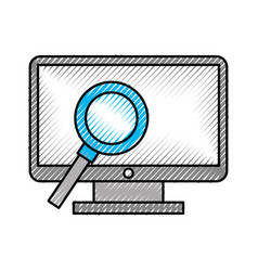 computer desktop with magnifying glass vector image