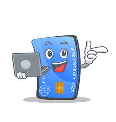 Credit card character cartoon with laptop vector