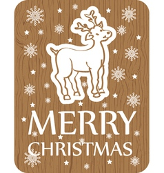 Cristmas greeting with deer wood vector