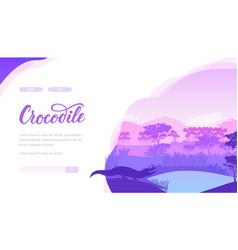 Crocodile landing page template vector