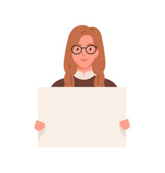 Cute girl with an empty placard in her hands vector