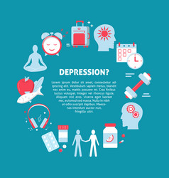 Depression treatment concept banner in flat style vector