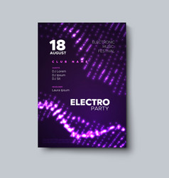 Electro party invitation poster vector