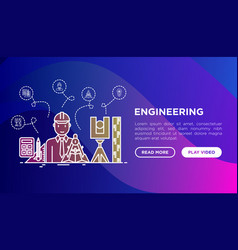 engineer at work concept with thin line icons vector image