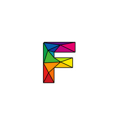 F colorful low poly letter logo icon design vector