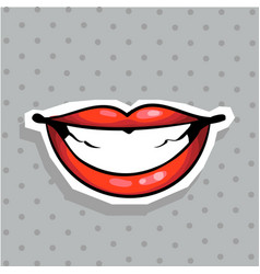 fashion patch badge with sexy lips whide smiling vector image