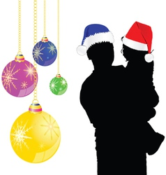 father and baby with a new year hat vector image