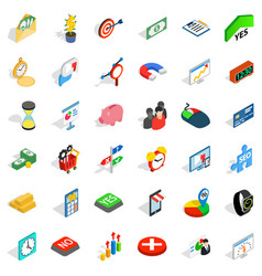 Financial contribution icons set isometric style vector