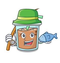 Fishing bubble tea mascot cartoon vector