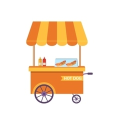 Flat Icon Cart of Hot Dog Isolated on White vector