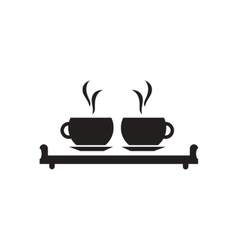 Flat icon in black and white couple cups vector