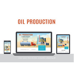 flat oil industry adaptive design concept vector image
