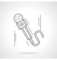 Flat thin line microphone icon vector image