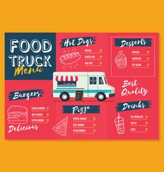 Food truck menu template fast food brochure menu vector