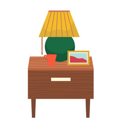 Furniture and decor for bedroom table with lamp vector