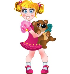 Girl in pink dress with teddy bear vector