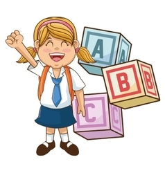 Girl kid of back to school design vector