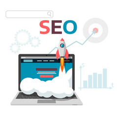 Graphic concept seo optimization flat web vector