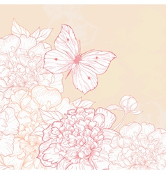 Greeting card with peony and butterfly in vintage vector