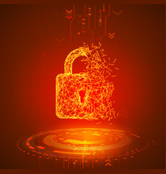 hacking program or network broken padlock on red vector image