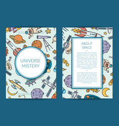 hand drawn space science elements card vector image
